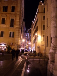 Picturesque Italian street near the Pantheon