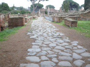 2,000 year old cobble stone streets in Ostia Antica