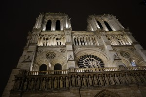 Notre Dame, lit up on a chilly night in Paris.