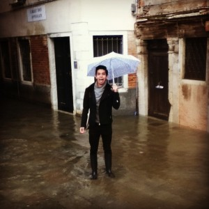 Walking through the flooded streets