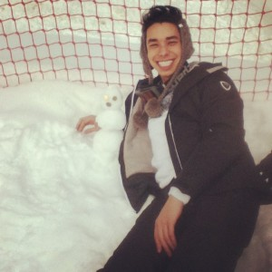 'Chilling' with my first snowman on the ski trip