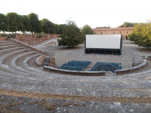 This picture shows where the people sit in the Fortezza for the movies played every night during the summer.